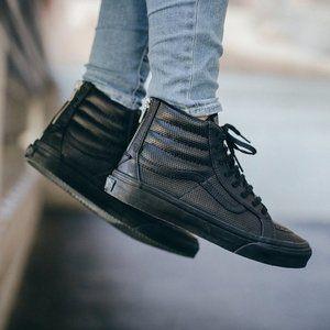 Black Leather Sk8-Hi Vans